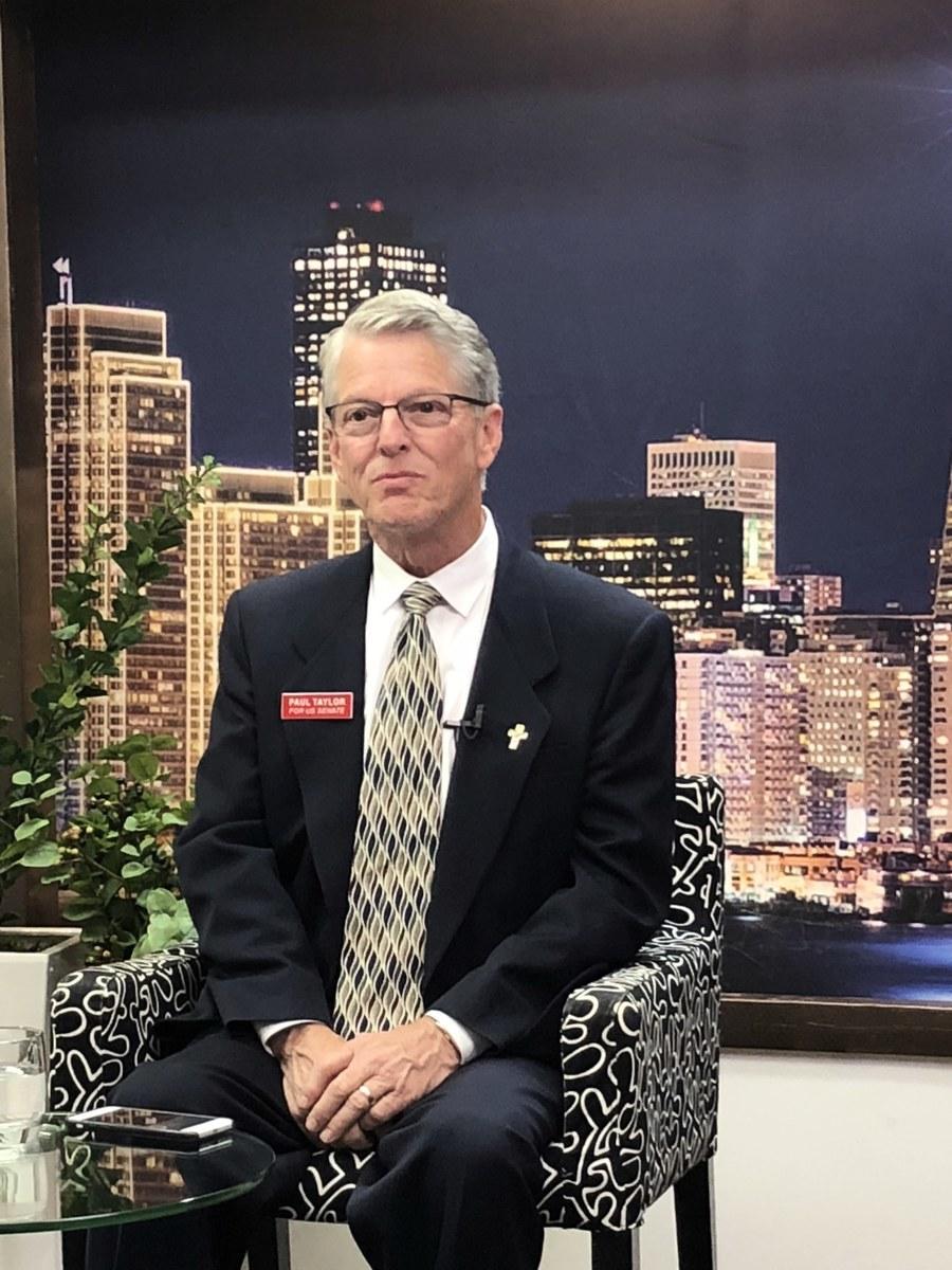 2018年4月13日,正在角逐加州聯邦參議員席位的共和黨參選人保羅・泰勒(Paul Taylor)接受新唐人專訪。(大紀元)