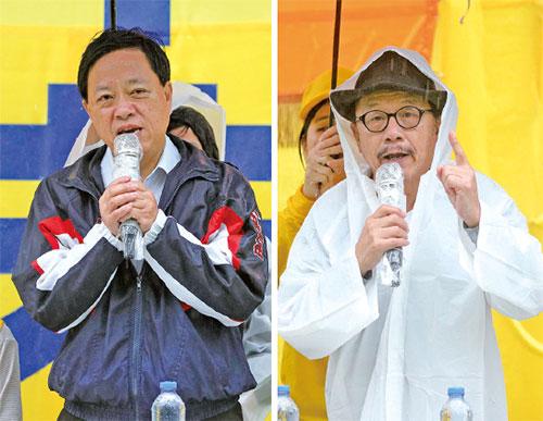 保衛香港自由聯盟發言人韓連山和前區議員林詠然周日(4月15日)出席九龍長沙灣遊樂場舉行的「四二五」和平上訪19周年集會。(李逸/大紀元)
