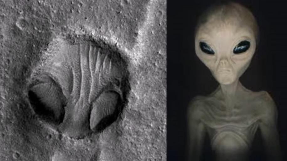 NASA在火星上拍到一個隕石坑洞,酷似外星人的頭部。(NASA)