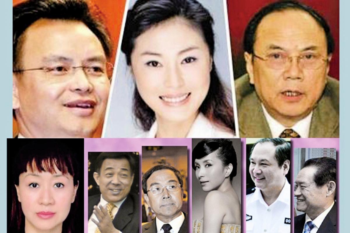 中共黨官淫亂,性賄絡是官場存活必要的手段,導致公共情婦備出,圖中許小婉(上中)、李薇(左下)、湯燦(左下四)都是有名的公共情婦。(新唐人合成)