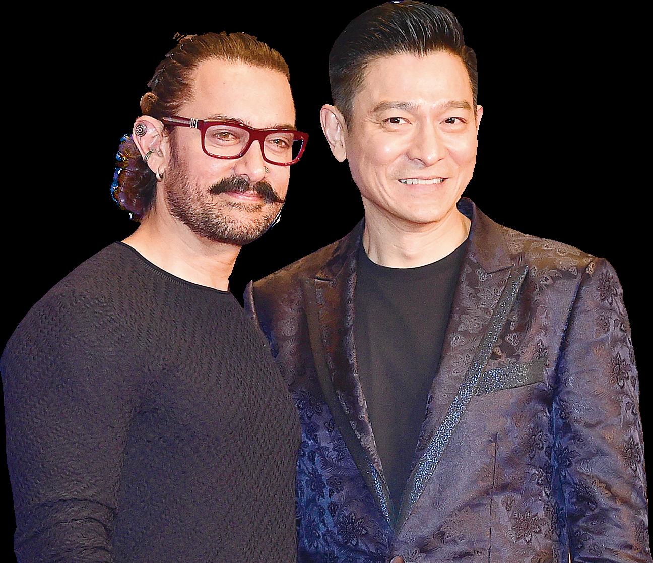 「印度劉德華」阿米爾汗與華仔同台,華仔笑稱自己是「香港Aamir」。(郭威利╱大紀元)