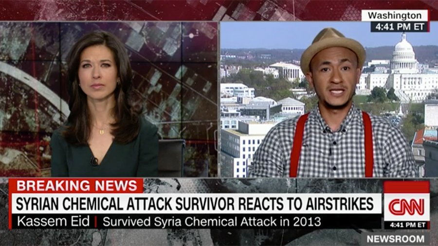 2013年遭受敘利亞化學攻擊的一位倖存者日前接受CNN採訪,表達了對特朗普總統對阿薩德政權發動懲罰性空襲的支持與感激。他表示,特朗普有一個寬大胸懷,在盡力幫助敘利亞人民。(視像擷圖)