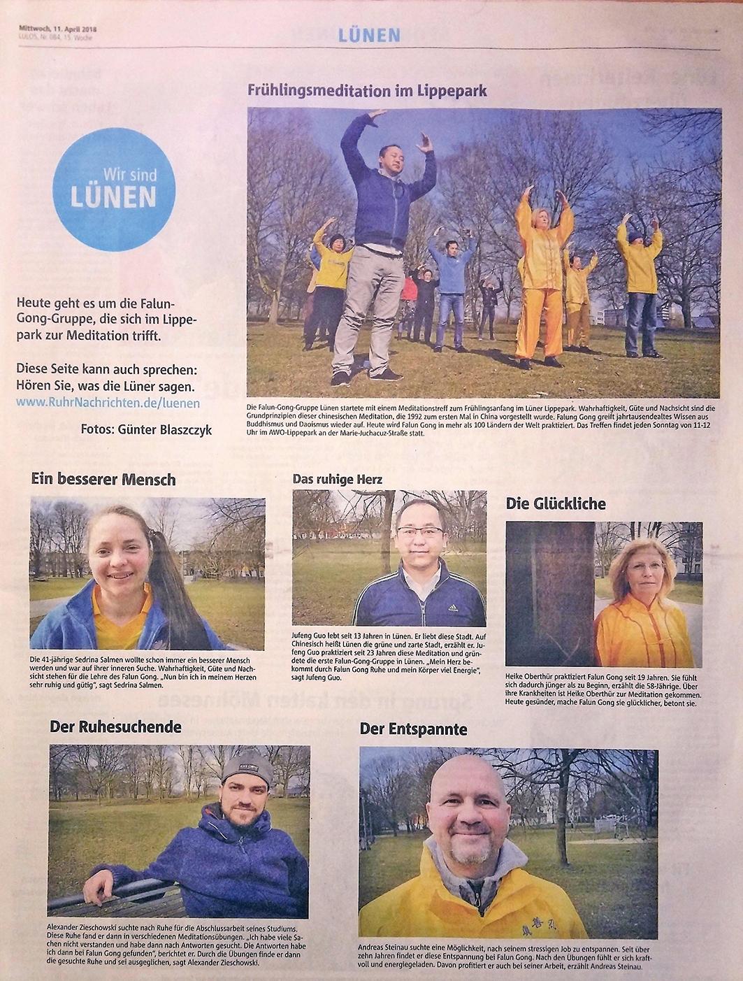 德國西部報紙《魯爾日報》整版報道法輪功學員在麗波公園的集體煉功,以及五名法輪功學員的修煉感受。(明慧網)