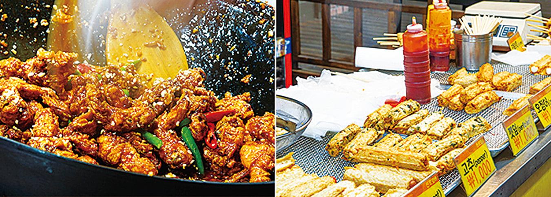 左圖:新浦國際市場知名的辣炸雞丁;右圖:現做現炸的魚板。