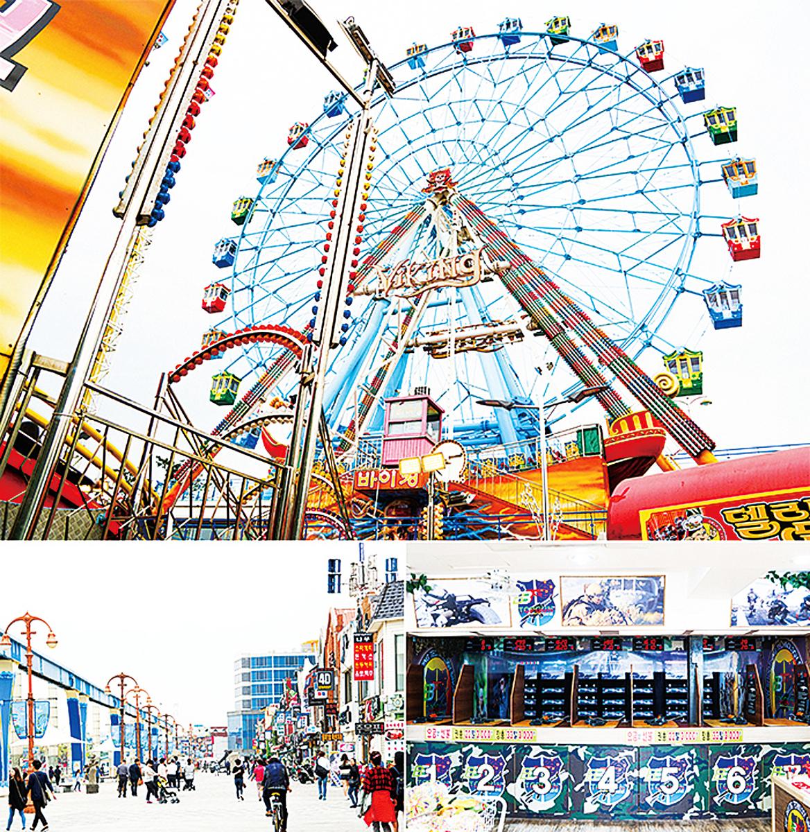 上圖:月尾島的遊樂園;左下圖:月尾文化街全景;右下圖:《太陽的後裔》取景的射擊場。