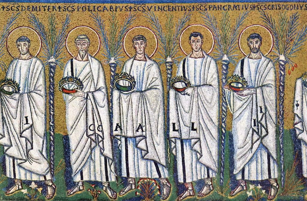 馬賽克鑲嵌壁畫-《聖徒像》。(聖阿波利納雷教堂,意大利拉韋納)(公有領域)
