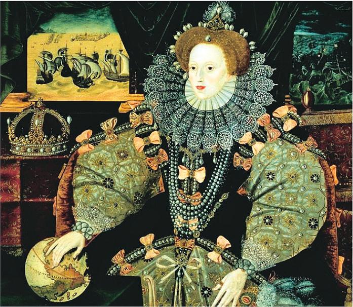 英國女王伊利沙伯一世畫像,文藝復興時期服飾。(公有領域)