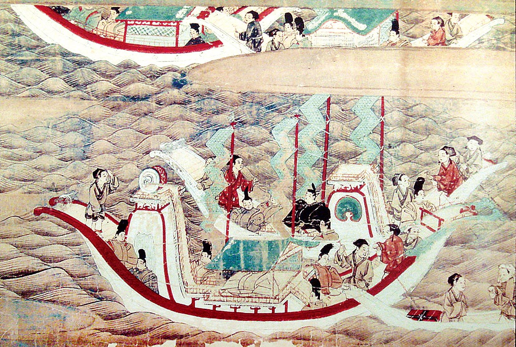《東征傳繪卷》描繪的日本遣唐使乘船赴唐的景象(PHGCOM/維基百科公有領域)