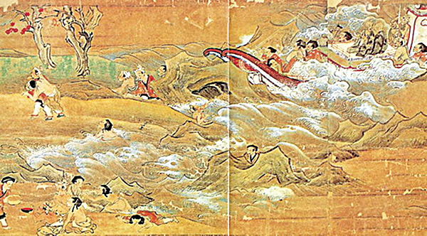 《東征傳繪卷》描繪鑒真東渡途中在桑石山附近再度觸礁(公有領域)
