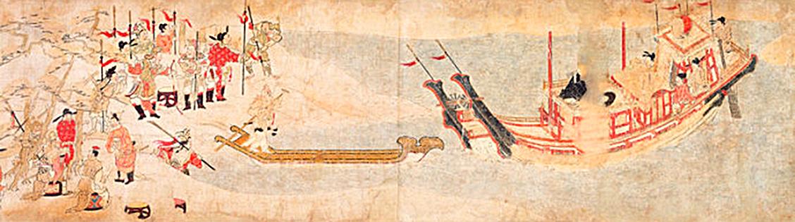 《吉備大臣入唐繪卷》描繪日本人吉備真備入唐的情景(公有領域)