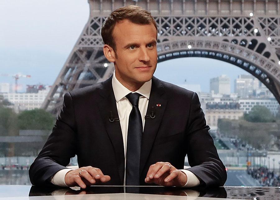 2018年4月15日,法國總統馬克龍在接受法國BFM電視台訪問時說,他說服特朗普不將美軍從敘利亞撤離。(FRANCOIS GUILLOT/AFP/Getty Images)