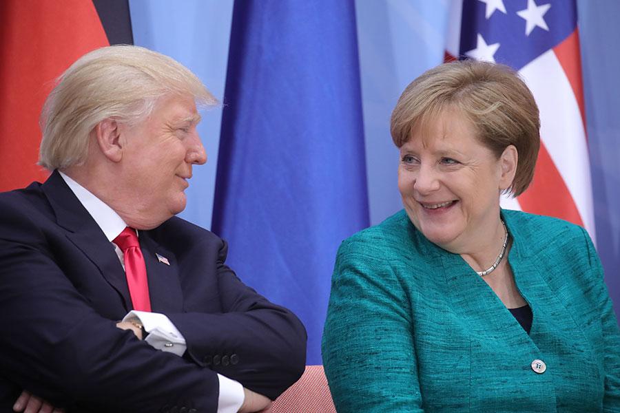 白宮周三(4月18日)發表聲明說,特朗普總統將會在4月27日接待德國總理默克爾。兩國元首將會討論地緣政治和經濟問題。(MICHAEL KAPPELER/AFP/Getty Images)