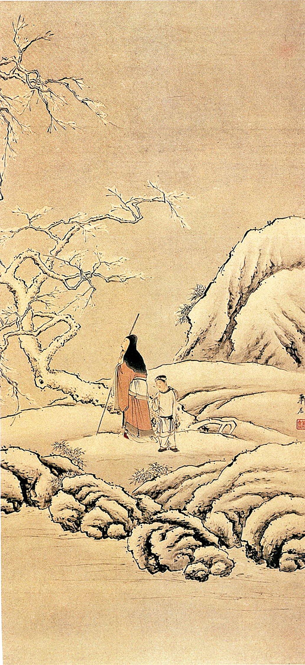 清 蕭晨〈踏雪尋梅〉(公有領域)