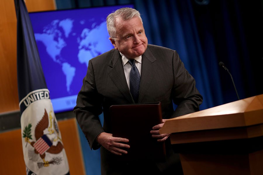 代理國務卿蘇利文(John Sullivan)代表國務院發表全球人權報告。(Win McNamee/Getty Images)