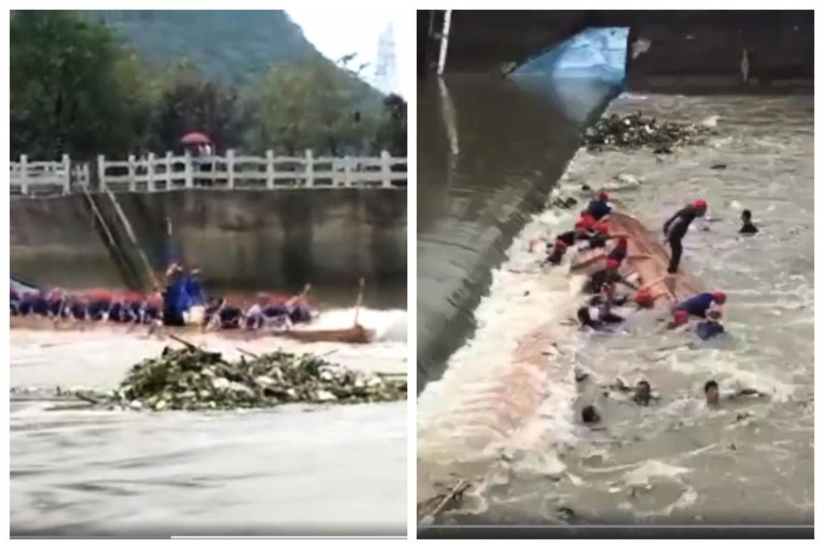 龍舟行駛至滾水壩時,水流湍急導致船體橫陳,失控翻船。(視像擷圖)