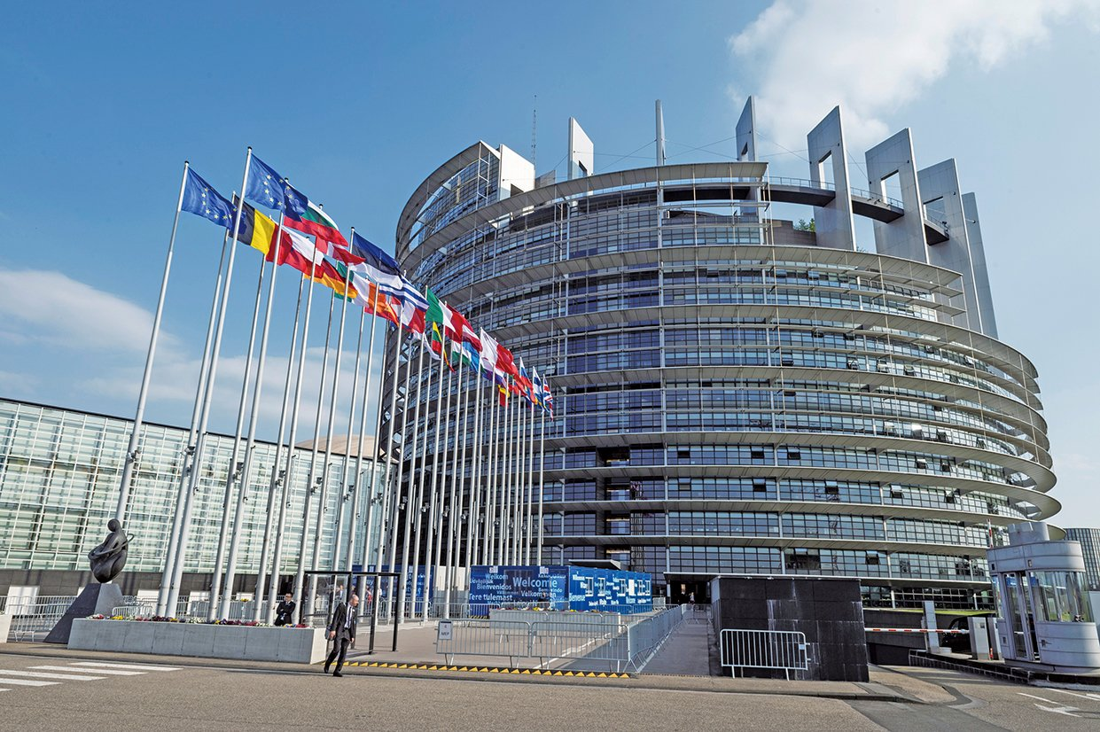 北韓領導人金正恩上周六(4月21日)宣佈,不再進行核試驗以及中遠程導彈發射,並關閉核試驗場,引發全球關注。圖為歐洲議會位於法國史特拉斯堡(Strasbourg)的大樓。(AFP)