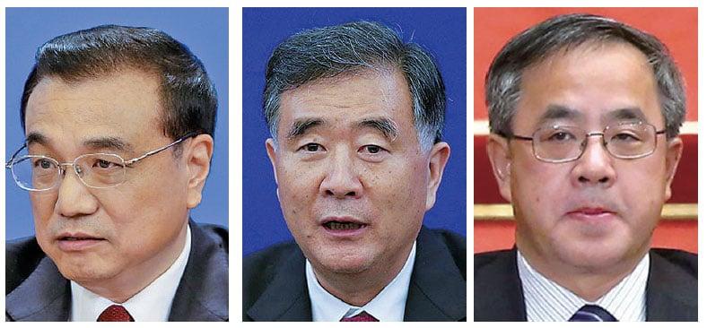 正國級高官李克強(左)、汪洋(中)與副國級高官胡春華(右)在半個月內,相繼考察江澤民老巢上海。(Getty Images)
