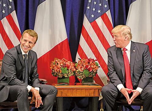 法國總統馬克龍與美國總統特朗普。(AFP)
