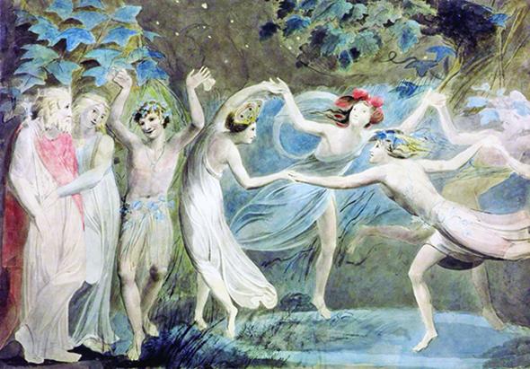 《仲夏夜之夢》──〈仙女舞蹈〉,奧布朗、提泰妮婭和帕克與跳舞的仙子,威廉.布雷克(Blake)約 1786繪製。