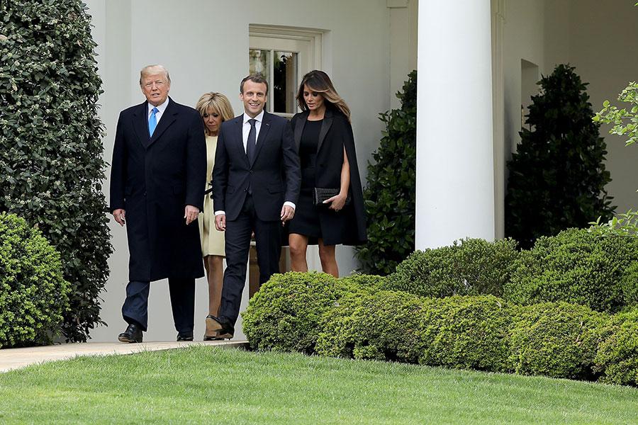 馬克龍夫婦抵達白宮,展開國是訪問。(Chip Somodevilla/Getty Images)