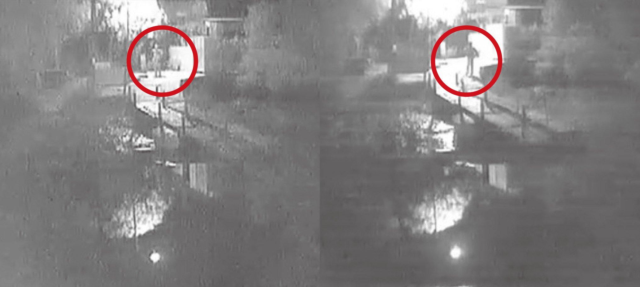 傳真社取得的閉路電視片段顯示,橫水渡碼頭本月2日發生縱火案期間,先後有兩人在場停留。(傳真社圖片)