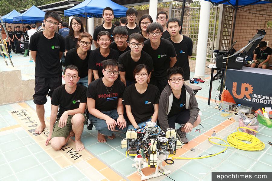 香港城市大學參賽隊伍CityU Underwater Robotics。(陳仲明/大紀元)