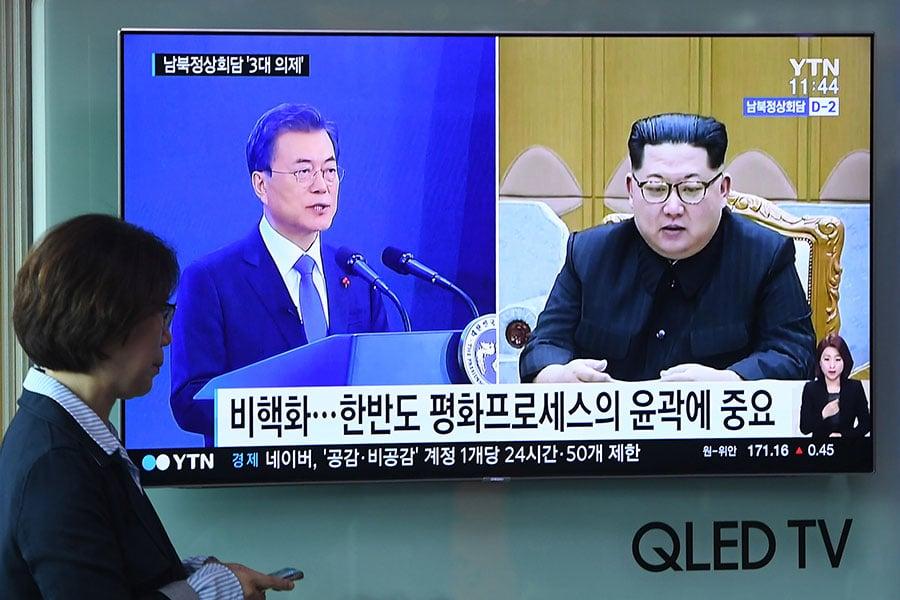 南韓總統文在寅與北韓領導人金正恩將於4月27日在板門店南韓方的「和平之家」會晤。(JUNG YEON-JE/AFP/Getty Images)