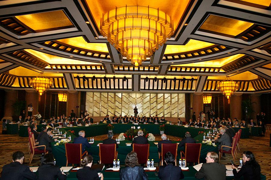 2007年9月27日,六方會談代表聚集在北京。(AFP PHOTO/POOL/Claro Cortes IV)