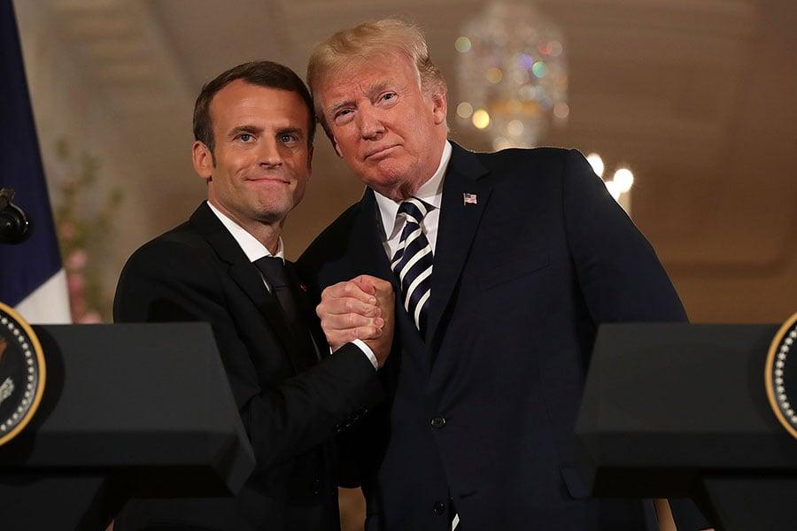 周二,美國總統特朗普及法國總統馬克龍在白宮舉行新聞發佈會,聚焦伊朗核協議、敘利亞、北韓等問題。(Chip Somodevilla/Getty Images)
