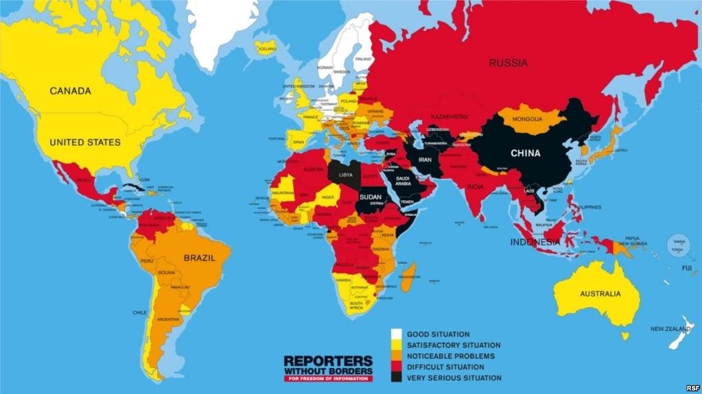 新聞自由排名 台灣亞洲第一 中國全球倒數第五