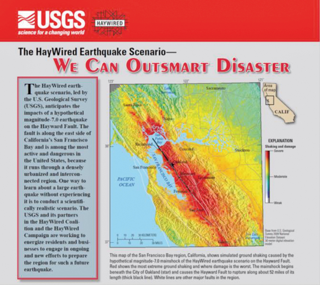 最新研究顯示,加利福尼亞海沃德地質斷層帶是可能引發災難性地震的「構造性定時炸彈」。(USGS/public domain)