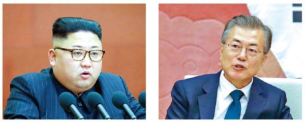 北韓領導人金正恩(左)和韓國總統文在寅即將會面。(STR、LUONG THAI LINH/Getty Images)