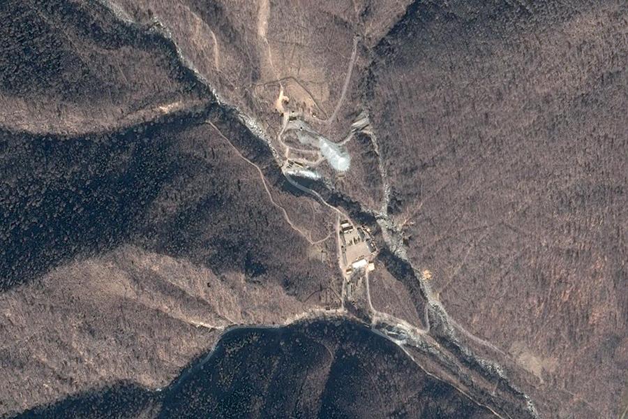 圖為北韓豐溪里核試驗場衛星圖。(Google地圖)