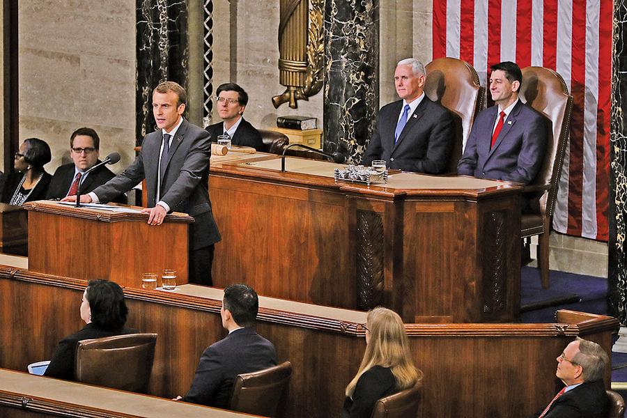 馬克龍美國會演說面對二十一世紀挑戰要有新思維 美法共同合作所向披靡