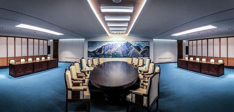 文金會會議室。(Korea Summit Pool via Getty Images)