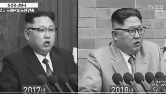 1月1日,朝鮮勞動黨委員長金正恩發表新年賀詞,南韓媒體從北韓媒體報道的畫面上,發現金正恩臉上出現快速衰老跡象。(視像擷圖)