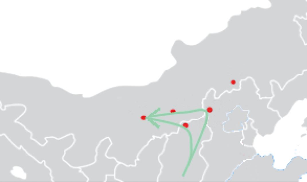 走西口地區地圖。(Mongol/Wikimedia Commons)