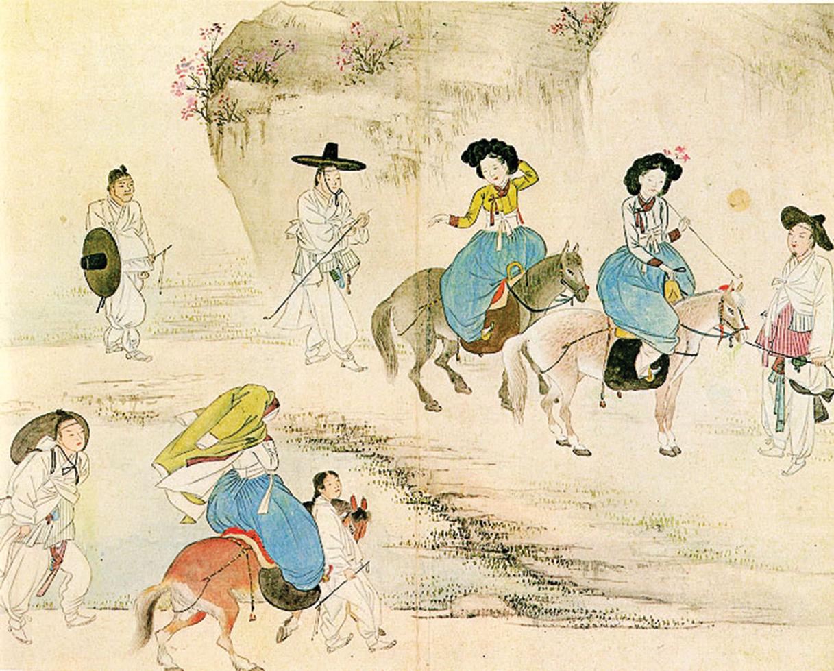 春遊踏青是上巳節的習俗之一,是青年男、女談情說愛好時機。圖為《蕙園風俗圖帖》中的《年少踏青》,描繪朝鮮王朝上巳節的情景。(公有領域)