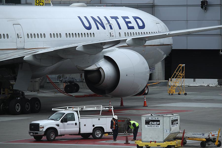 圖為聯合航空班機。(Justin Sullivan/Getty Images)