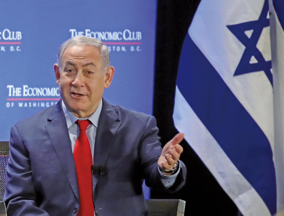 以色列總理內塔尼亞胡在周一發表演講,指控伊朗違反核協議。(Getty Images)