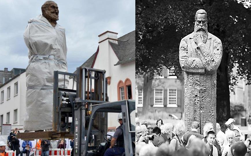 中共贈送給德國的馬克思、恩格斯雕像。(網絡合成圖)