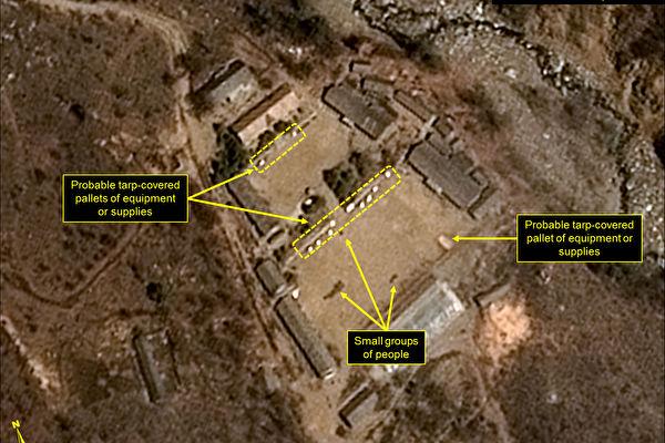 專門研究分析北韓問題的網站「38 North」提供的北韓核試驗場豐溪里一帶的衛星照片。(AFP)