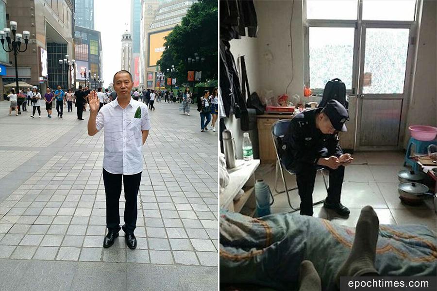 左:近日,綠葉行動倡議人薛仁義失聯;右:半夜闖入的警察,在房間控制著姜家文和宋輝。(推特圖片)