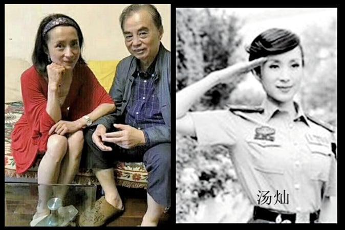 《蘋果日報》稱,照片是湯燦最近探望她老師的合照。(推特圖片)