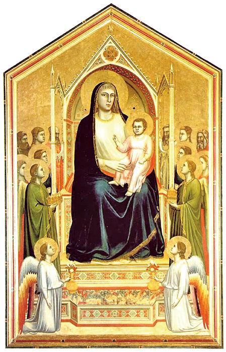 意大利畫家與建築師、文藝復興的開創者喬托(Giotto di Bondone,約1267年~1337年)作品《聖母登極》Madonna in Maesta(公有領域)