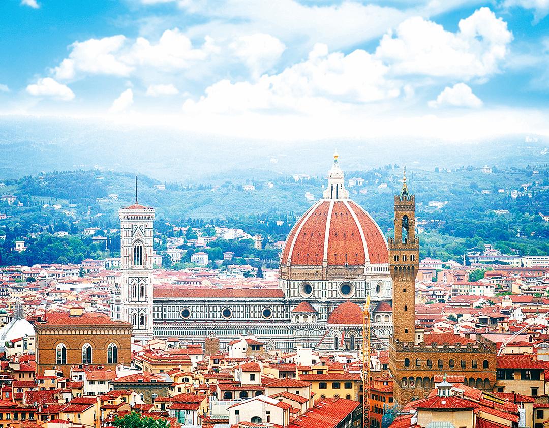 布倫內利齊設計、位於意大利佛羅倫斯的聖母百花大教堂的穹頂。(Fotolia)