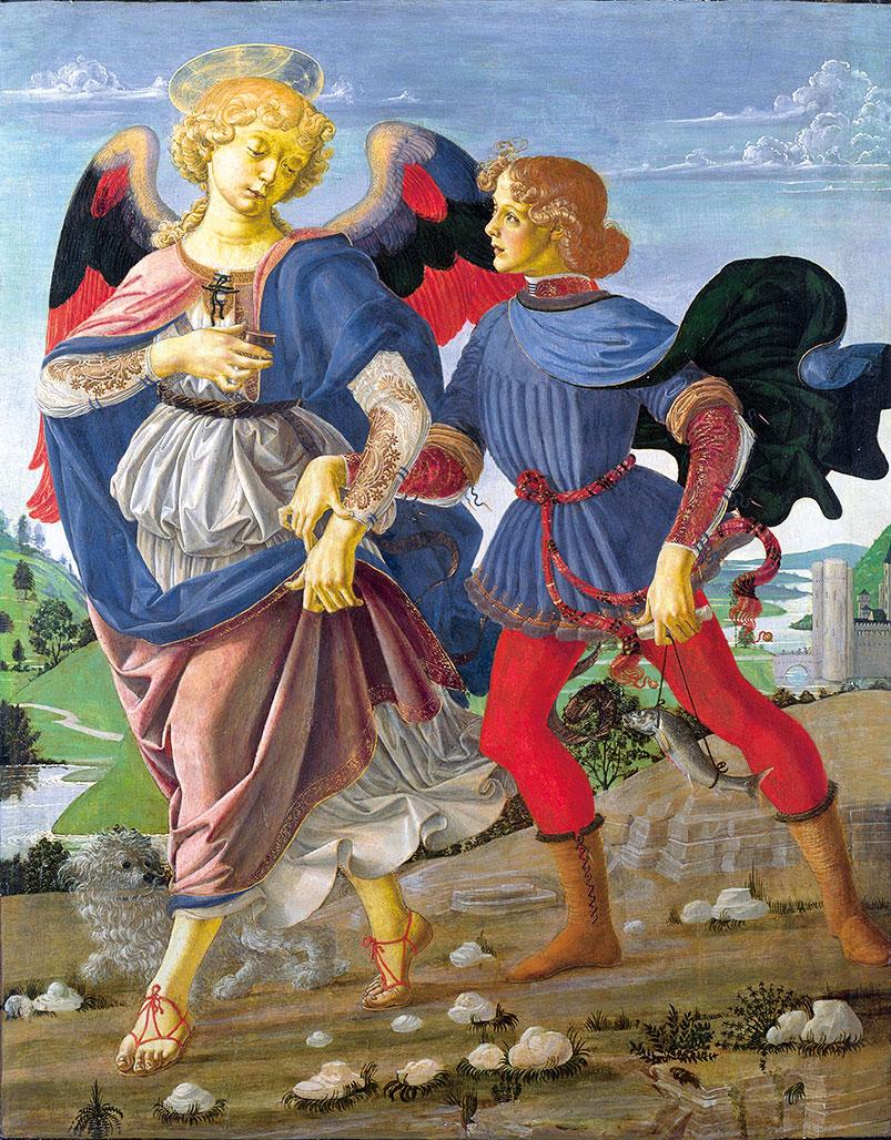 維洛齊歐的《托比亞斯和天使》Tobias and the Angel(倫敦國家美術館收藏)。(公有領域)