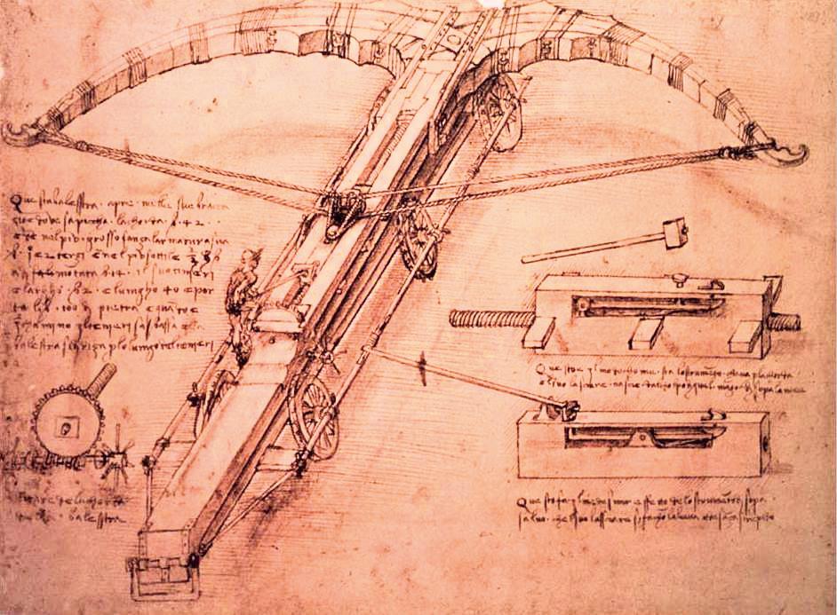達文西繪製的超巨型弩。(公有領域)
