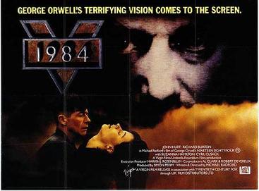 《1984》根據喬治・奧威爾的同名小說改編。圖為該電影海報。(維基百科)