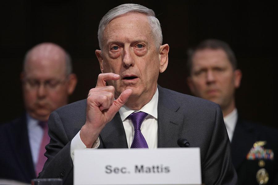 美國國防部長馬蒂斯敦促國會議員在一項必須通過的國防法案中包含收緊對外國投資監管的措施,以阻止中共獲得美國敏感科技的企圖。(Win McNamee/Getty Images)